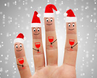 Happy fingers drink champagne Stock Image