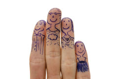 Happy fingers family. Closeup of happy fingers family Royalty Free Stock Images