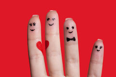 Happy fingers family in love Royalty Free Stock Image