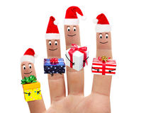 Happy fingers and gifts on white background Stock Images