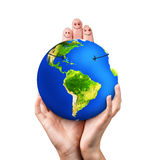 Happy fingers hugging earth Royalty Free Stock Photography