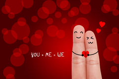 Happy fingers in love Stock Images
