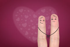 Happy fingers in love. Royalty Free Stock Images