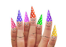 Happy fingers in multicolored caps on a white background Stock Images