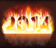 Happy fire 2014 new year banner Royalty Free Stock Photo