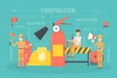 Firefighter concept illustration. Happy firefighters standing with axe, megaphone and water hose. Firemen in uniform with equipment: extinguisher, helmet and Stock Photo