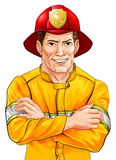 Happy fireman. An illustration of a happy handsome firefighter fireman with his arms folded Royalty Free Stock Image