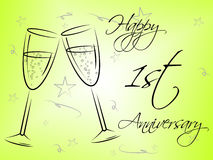 Happy First Anniversary Indicates Celebration Celebrations And Remembrance Stock Photography