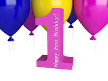 Happy First Birthday. Pink number one and color balloons isolated on white Royalty Free Stock Images