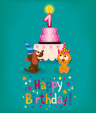 Happy First Birthday. Cute card vector illustration