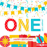 Happy First Birthday Anniversary card. With flags, gifts, streamers royalty free illustration