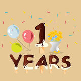 Happy First Birthday Anniversary card. Vector illustration royalty free illustration
