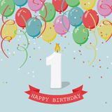 Happy first Birthday anniversary greeting card with number One. Balloons, ribbons and confetti Stock Images