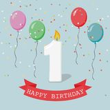 Happy first Birthday anniversary greeting card with number One. Balloons, ribbons and confetti Stock Photography