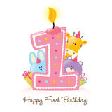 Happy First Birthday Candle And Animals Isolated Stock Image