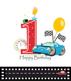 Happy first birthday candle. Baby boy greeting card with race car. Vector Stock Photos