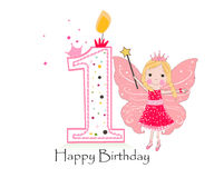 Happy first birthday candle. Baby girl greeting card with fairy tale. Vector background Royalty Free Stock Photos