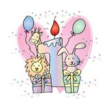 Happy First Birthday with candle and cute animals. White background royalty free illustration