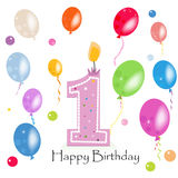 Happy first birthday candle vector with colorful confetti and balloons Stock Photography