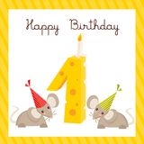 Happy First Birthday card. Vectror illustration Royalty Free Stock Photos