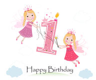 Happy first birthday with cute fairy tale greeting card vector. Illustration Royalty Free Stock Images