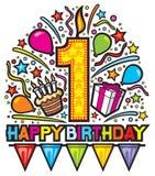 Happy first birthday design Stock Photo