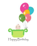 Happy first birthday greeting card with balloons. Vector Royalty Free Stock Photo
