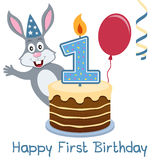 First Birthday Bunny Rabbit. Happy First Birthday greeting card with a funny bunny rabbit, a birthday cake with numbered candle, a red balloon and a blue Stock Image