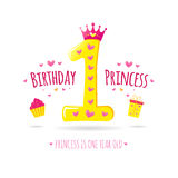 Happy First Birthday. Greeting card for your princess. Vector Stock Photo
