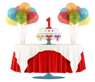 Happy first birthday. Birthday party with round table with cake ,gift and balloon isolated on white - 3D Rendering Stock Photography