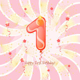 Happy first birthday. Postcard with happy first birthday.Digit one of the balloon Stock Photo