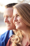 Happy First Date Watching The Sunset Royalty Free Stock Photos
