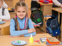 Happy first grader at lesson in school of technology, look in the frame Royalty Free Stock Image