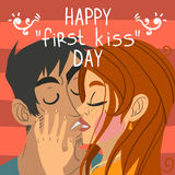 Happy first kiss day greeting card. Vector greeting card for games, ui, tablets, smart phones Royalty Free Stock Photography