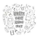 Happy first school day. Poster with hand drawn school stuff Royalty Free Stock Images
