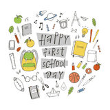 Happy first school day. Poster with hand drawn school stuff Stock Image