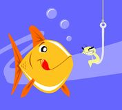 Happy fish being lured by an evil worm. A fish swimming happily that is just about to be lured by an evil worm into a fishing hook Stock Photo