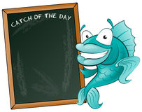 Happy Fish with his Big Blackboard Sign. Great illustration of a Cute Cartoon Cod Fish holding a chalk style blackboard to display his fishy menu Royalty Free Stock Image