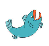 Happy fish jumping and smiling. Cartoon character. Drawing Stock Photography