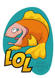 Happy Fish Laughing of April Fools' Pranks, Vector Illustration Stock Photography