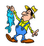 Happy fisherman and fish Stock Images