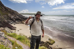The Happy Fisherman - with Fishing Rod Stock Image