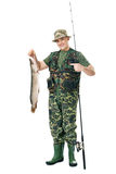 Happy fisherman with his catch Stock Photo