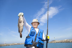 Happy  fisherman showing large grouper Royalty Free Stock Photo