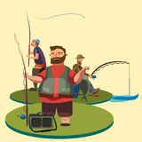 Happy fisherman stands and holds in hand fishing rod with spinning and fish catch, bag with fishman spin and equipment Stock Photography