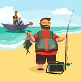 Happy fisherman stands and holds in hand fishing rod with spinning and fish catch, bag with fishman spin and equipment Royalty Free Stock Image