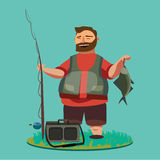 Happy fisherman stands and holds in hand fishing rod with spinning and fish catch, bag with fishman spin and equipment. Funny cartoon vector illustration, Man Stock Image
