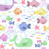 Happy fishes background. Seamless pattern with colorful fishes Stock Photo