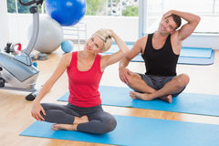 Happy fit couple working on exercise mat Stock Photos