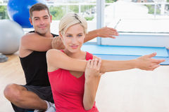 Happy fit couple working Stock Image